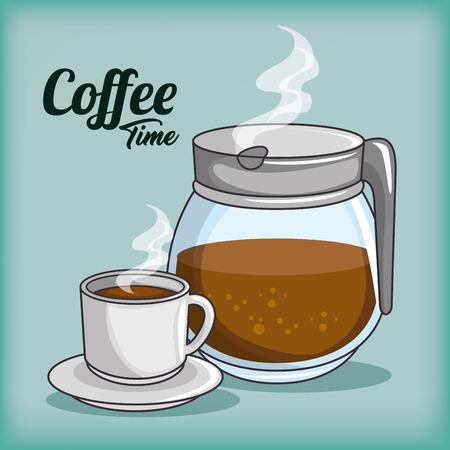 커피 메이커 및 커피 디자인 벡터 일러스트 그래픽 디자인의 컵