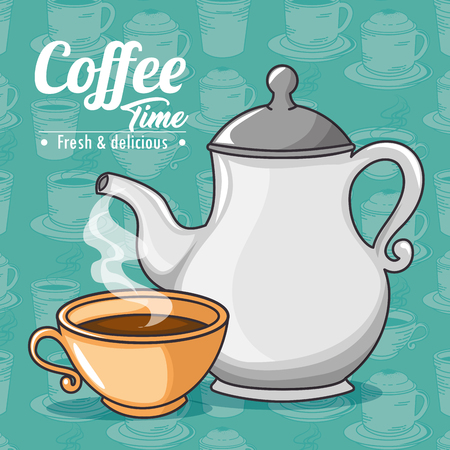 contemporary taste: coffee maker and cup of coffee design vector illustration graphic design