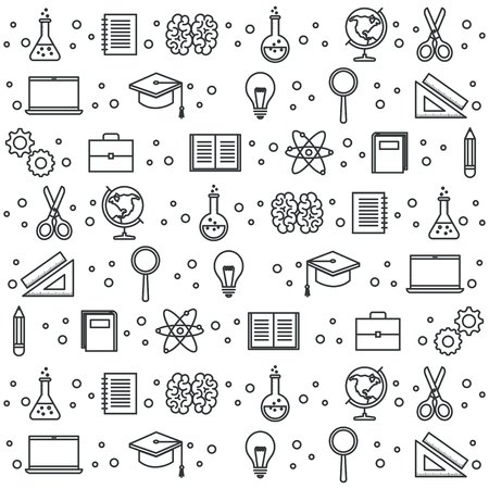 Hand drawn education related objects pattern over white background vector illustraiton Illustration
