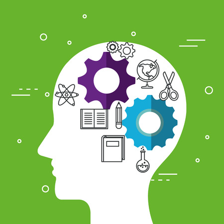Head silhouette with gear wheels and education related objects over green background vector illustration