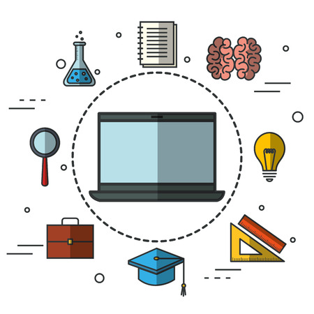 finishing: Laptop sticker with education related objects design vector illustration