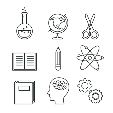 Hand drawn education related objects over white background vector illustration Ilustração