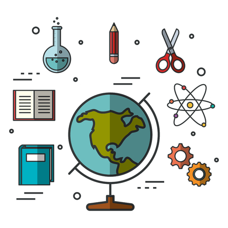Globe and education related objects over white background vector illustration