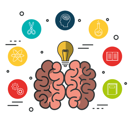 Brain with light bulb and education related icons over white background vector illustration