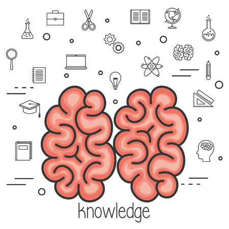 Brain with knowledge sign and hand drawn education related objects