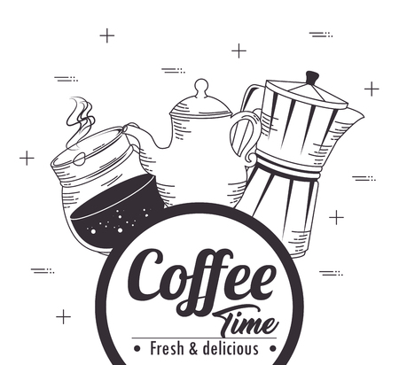 hand drawn coffee maker and cup of coffee design vector illustration graphic design
