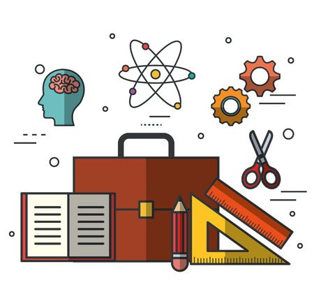 Education related objects over white background vector illustration
