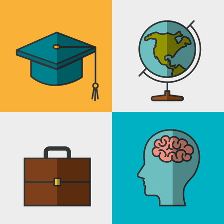 Education related objects set over colorful bakground vector illustration Illustration