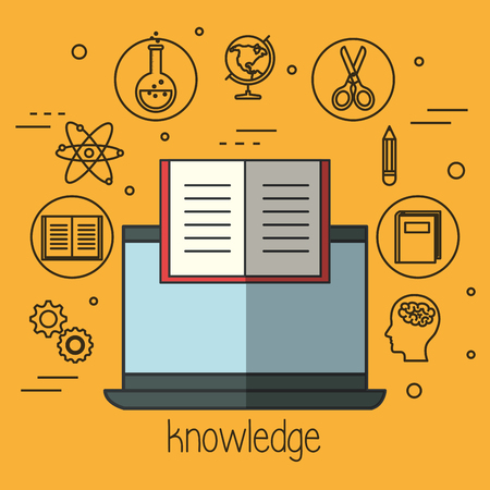 Laptop with book and education related objects over yellow background