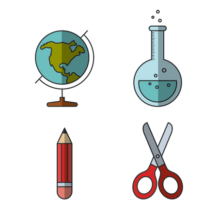 Colorful education related objects over white background vector illustration