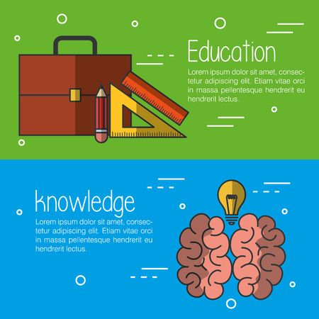 Education and knowledge infographics with related objects over green and blue background