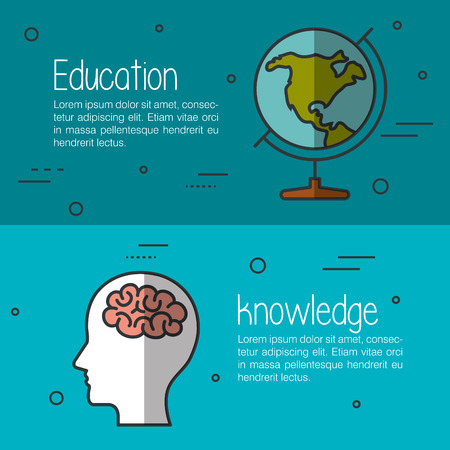 finishing: Education and knowledge infographics with related objects over teal and blue background