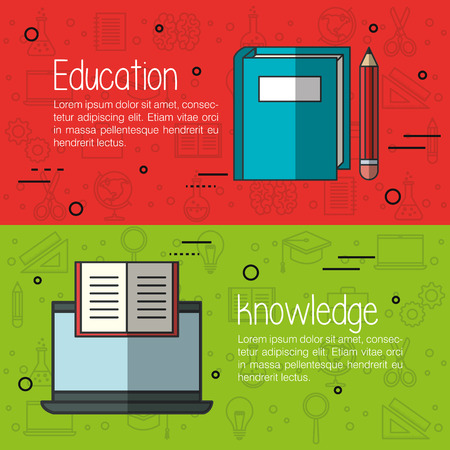 Education and knowledge infographics with related objects over red and green background
