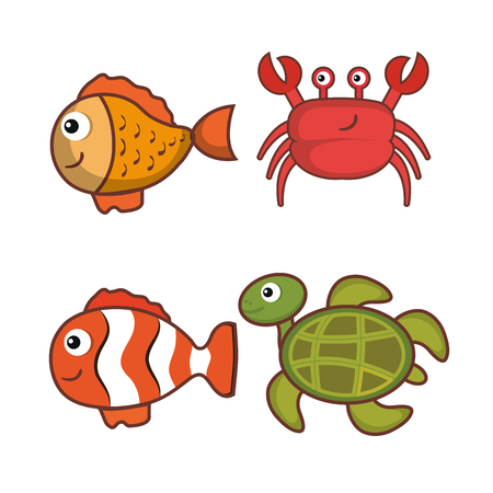 Colorful sea creatures set over white background vector illustration Ilustração