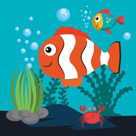 魚やカニのベクトル図と海洋生物の設計