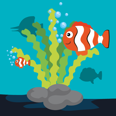 Sea life design with clown fish vector illustration
