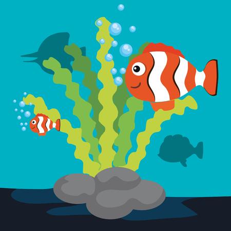 Sea life design with clown fish vector illustration