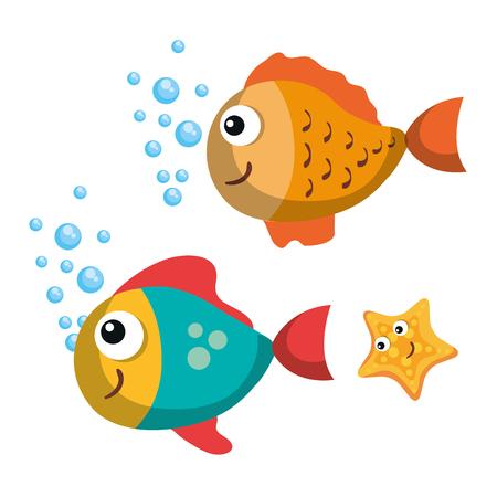 魚と白い背景のベクトル図にヒトデ海ライフ デザイン