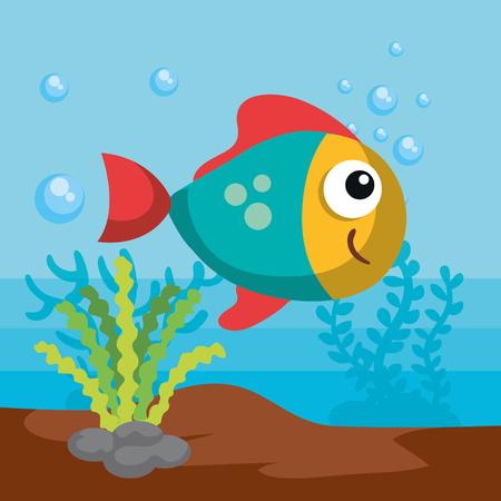 Sea life design with fish and algae vector illustration