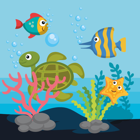 colorful design with sea creatures vector illustration Illustration