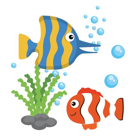 Peixes coloridos e algas sobre fundo branco ilustração vetorial
