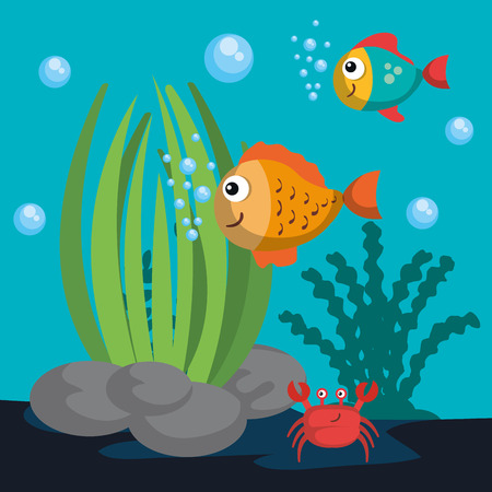 Sea life design with colorful fish and crab vector illustration