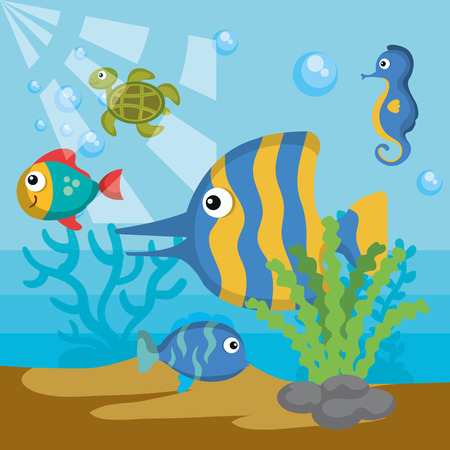 Sea design with colorful sea creatures vector illustration Иллюстрация