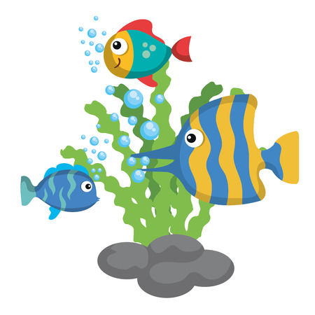 Sea life design with fish and algae over white background vector illustration Illustration