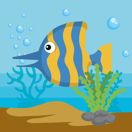 Sea life design with striped fish vector illustration Ilustração