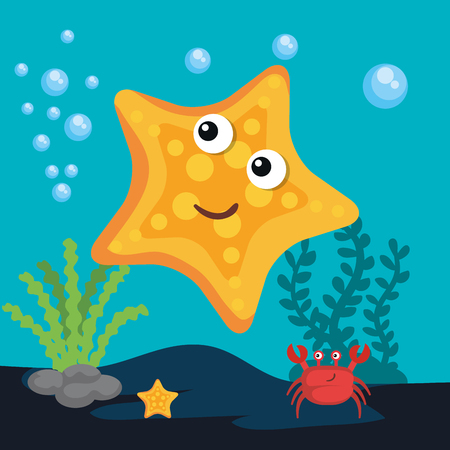 Sea life design with crab and starfish vector illustration