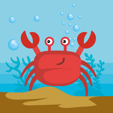 Sea life design with crab vector illustration