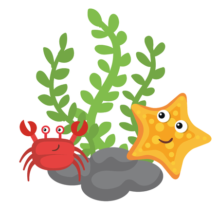 Sea life design with crab and starfish over white background vector illustration