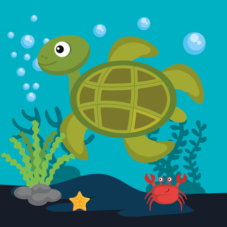 Sea life design with turtle and crab vector illustration