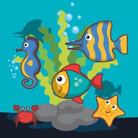 Sea design with colorful sea creatures vector illustration Illustration