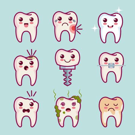 teeth set over light background vector illustration