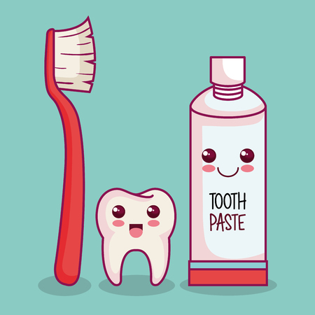 Tooth and teeth brushing related objects over light background vector illustration