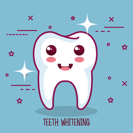teeth whitening sing over blue background vector illustration