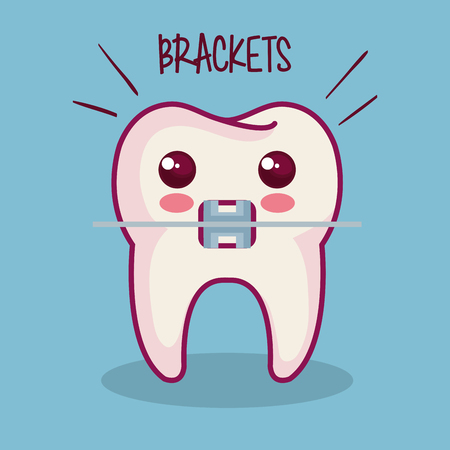 tooth with braces and brackets sign over blue background vector illustration