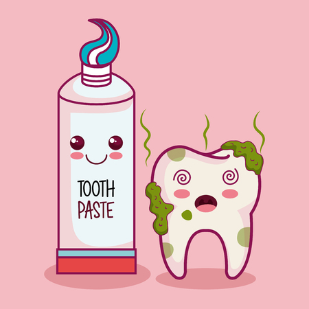 Kawaii dirty tooth and tooth paste over pink background vector illustration
