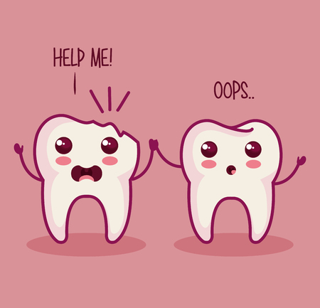 help me: broken tooth with help me sign and healthy tooth over pink background vector illustration Illustration