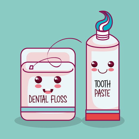 dental floss and tooth paste over teal background vector illustration Illustration
