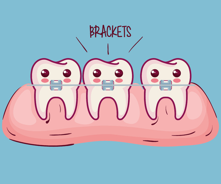 Kawaii teeth with braces and brackets sign over blue background vector illustration