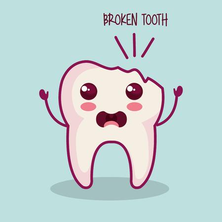 Kawaii broken tooth over light background vector illustration