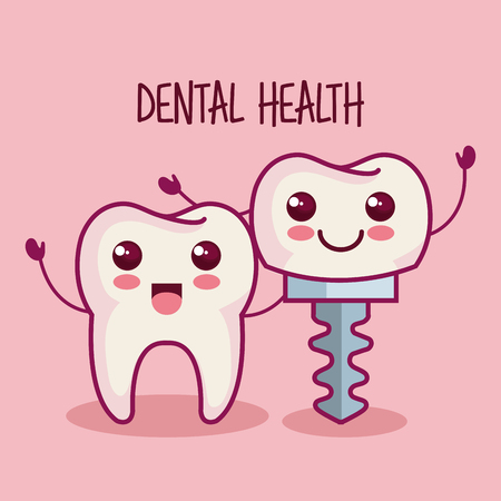 Kawaii tooth and dental implant over pink background vector illustration