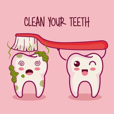 치아와 치아 브러쉬 이빨 청소 분홍색 배경 벡터 일러스트 레이 션