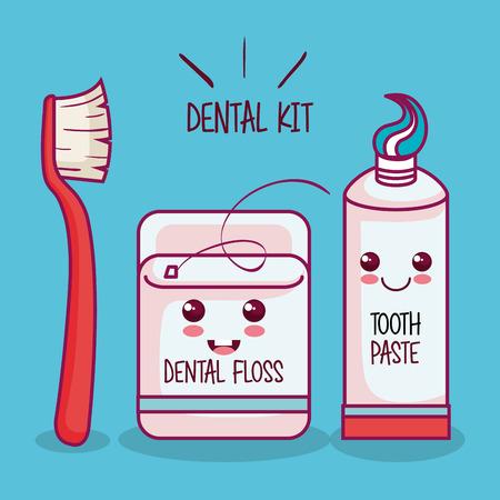 dental kit over blue background vector illustration