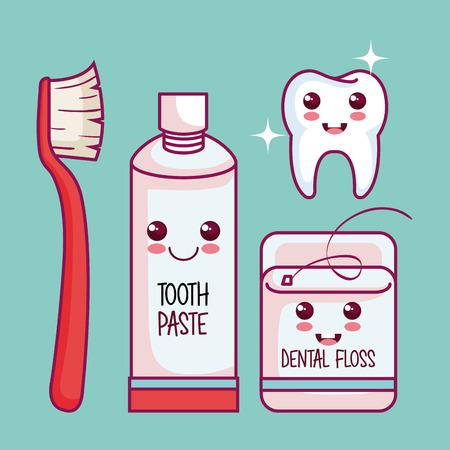 Kawaii 건강한 치아 및 청록 배경 벡터 일러스트 레이 션을 통해 치과 키트