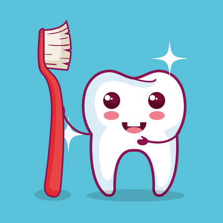 Kawaii tooth holding brush  over blue background vector illustration