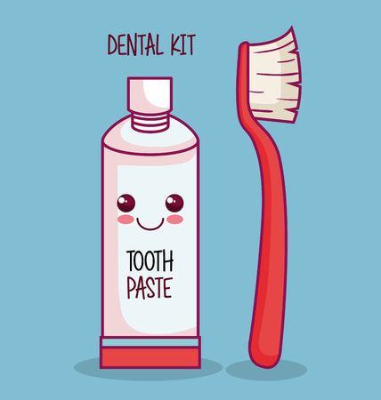 Kawaii tooth paste and brush over blue background vector illustration Ilustração