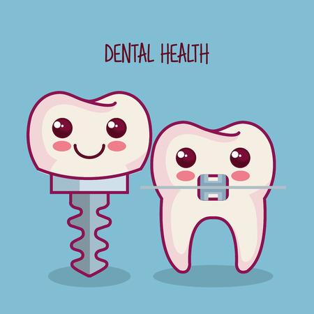implante dental y diente con llaves sobre fondo azul ilustración vectorial